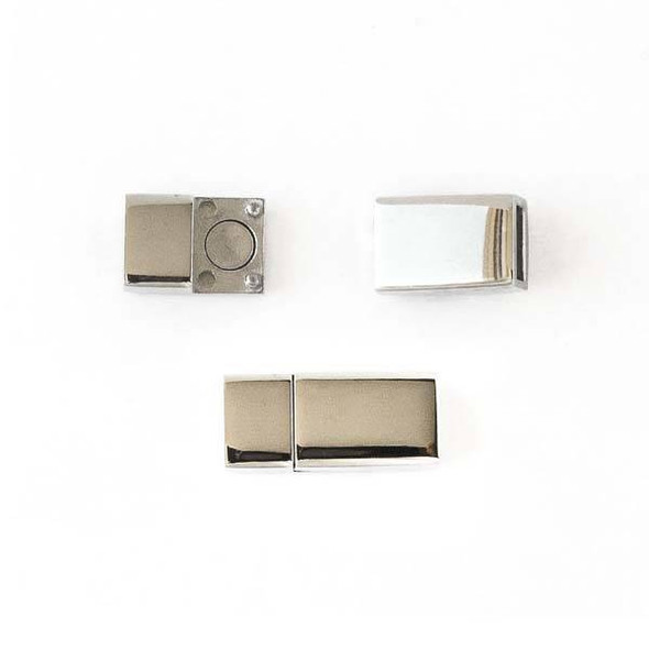 Stainless Steel 8x17mm Magnetic Rectangle Clasp -  1 set per bag - CTBZ113ss