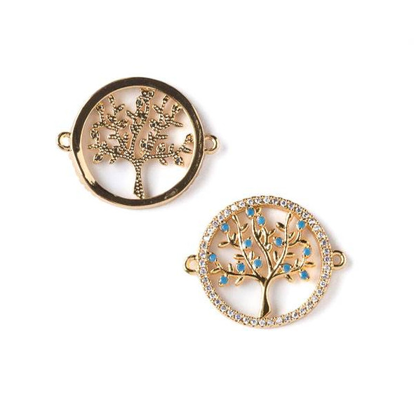 Gold Plated Brass Pave 18x22mm Tree Coin Link with Blue and Clear Cubic Zirconias -  1 per bag