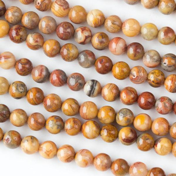 Natural Red Crazy Lace Agate 6mm Rounds - 15 inch strand