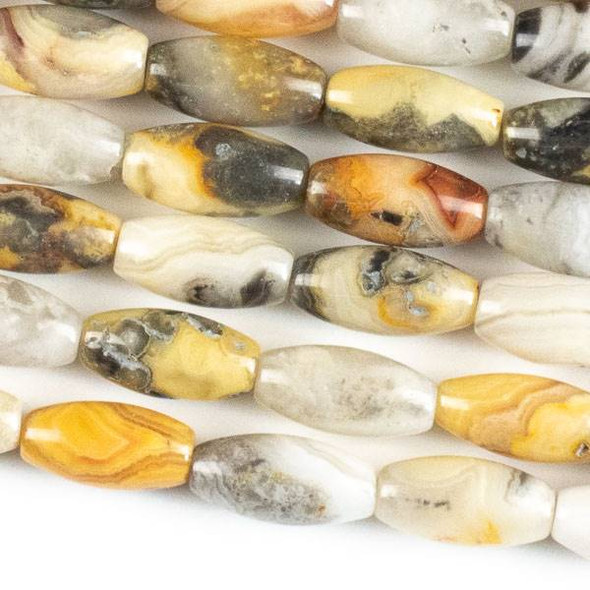 Crazy Lace Agate 7x14mm Rice Beads - approx. 8 inch strand, Set A