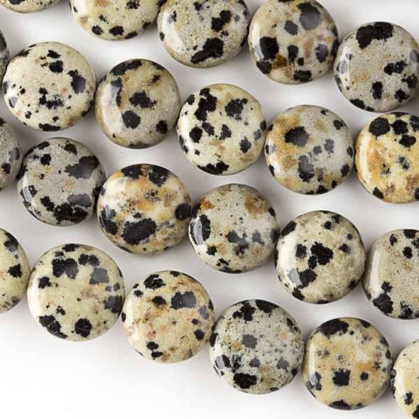 Dalmatian Jasper 10mm Coin Beads - approx. 8 inch strand, Set A