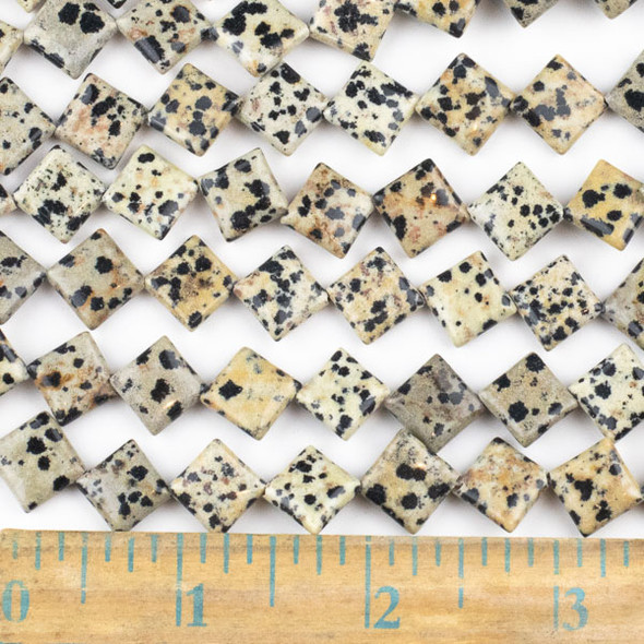 Dalmatian Jasper  10mm Diagonal Drilled Square Beads - approx. 8 inch strand, Set A