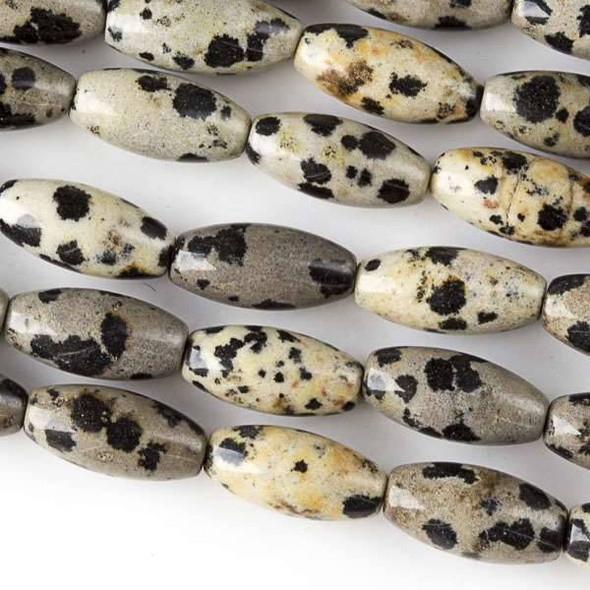 Dalmatian Jasper  7x14mm Rice Beads - approx. 8 inch strand, Set A