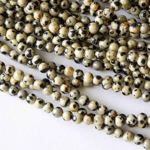 Dalmatian Jasper 4mm Round Beads - 16 inch strand