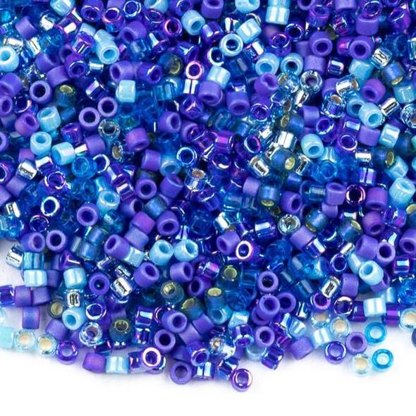 Miyuki 11/0 Blue Tones Mix Delica Seed Beads - #MIX02, 7 gram tube