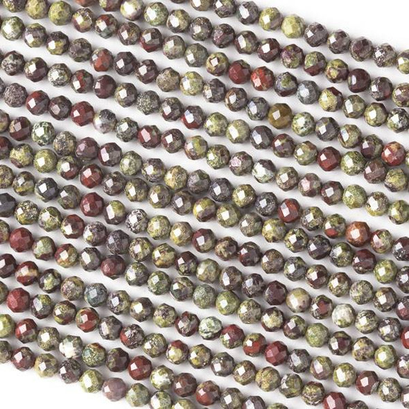 Dragon Blood Jasper 4mm Faceted Round Beads - 16 inch strand