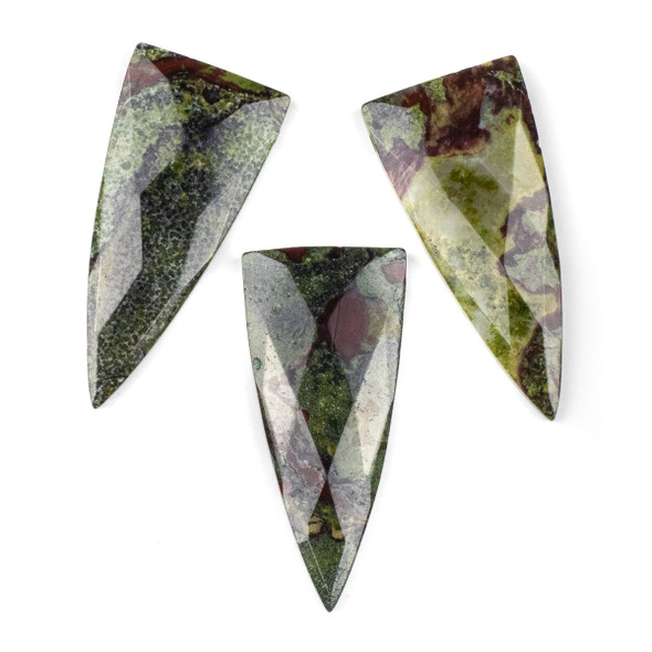 Dragon Blood Jasper 25x55mm Faceted Top Drilled Shield Pendant - 1 per bag