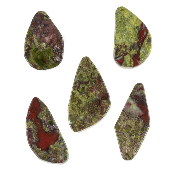 Dragon Blood Jasper 15x34-24x44mm Top Drilled Free Form Pendant - 1 per bag
