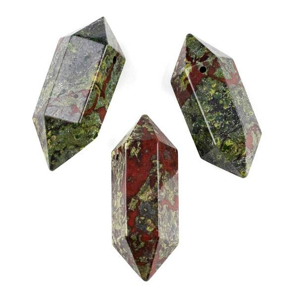 Dragon Blood Jasper 27x70mm Extra Large Hexagonal Double Point Pendant - 1 per bag