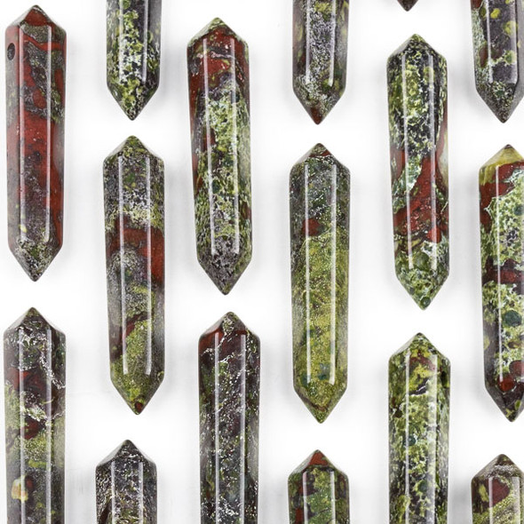 Dragon Blood Jasper 8x40mm Hexagonal Double Point Pendant - 1 per bag