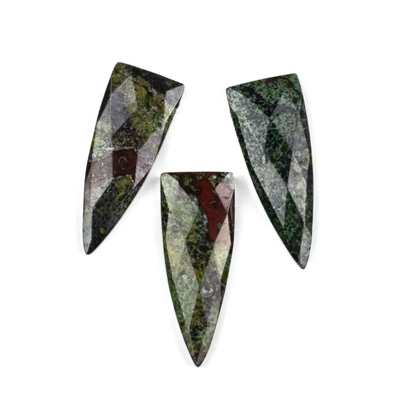 Dragon Blood Jasper 16x42mm Top Drilled Faceted Shield Pendant - 1 per bag
