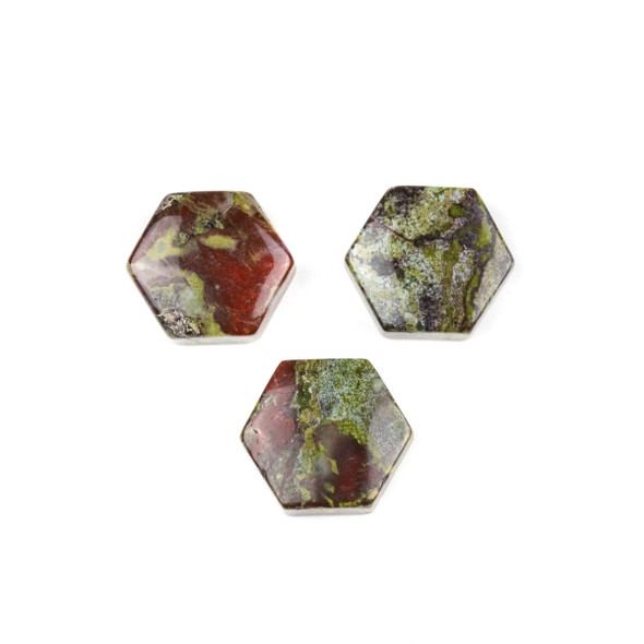 Dragon Blood Jasper 16x18mm Top Drilled Hexagon Pendant - 1 per bag