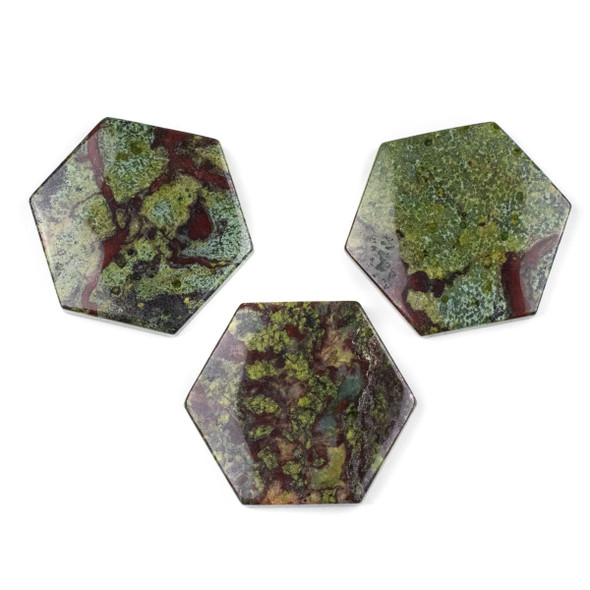 Dragon Blood Jasper 40x45mm Top Drilled Hexagon Pendant - 1 per bag