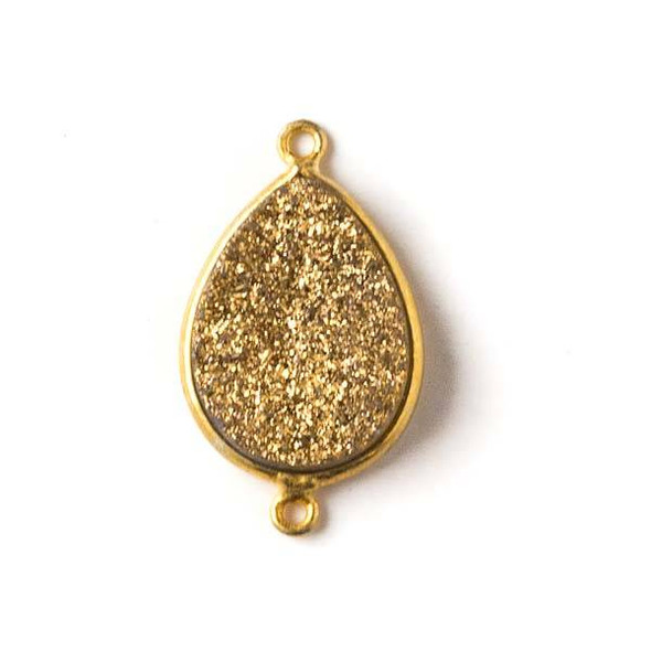 Druzy Agate 15x25mm Gold Teardrop Link with Gold Bezel and Loops