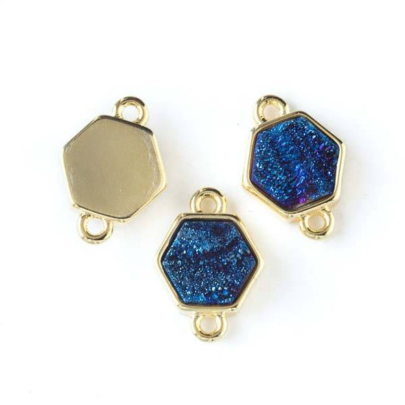 Druzy Agate 13x15mm Blue Rainbow Hexagon Link with Gold Bezel and Loops - 1 per bag