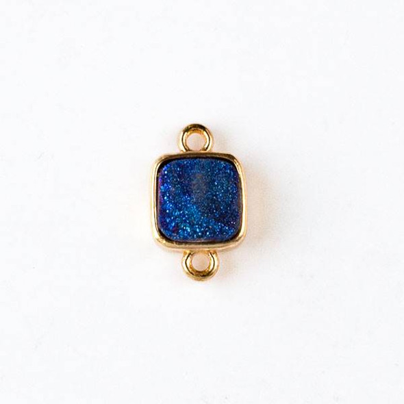Druzy Agate 10x17mm Blue Rainbow Square Link with Gold Loops