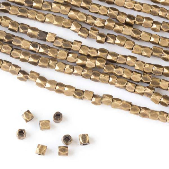 Brass 2.5mm Faceted Cube Spacer Beads - approx. 8 inch strand - DS034vb