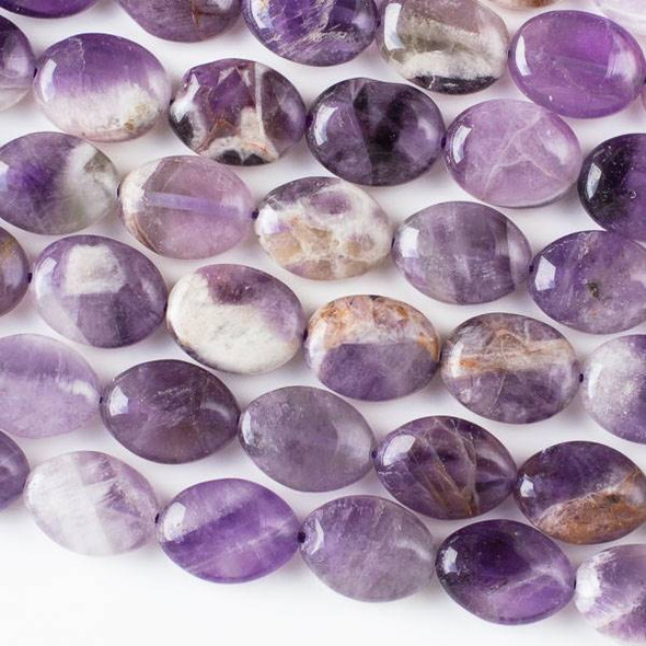 Dog Tooth Amethyst 12x16mm Oval Beads - 16 inch strand