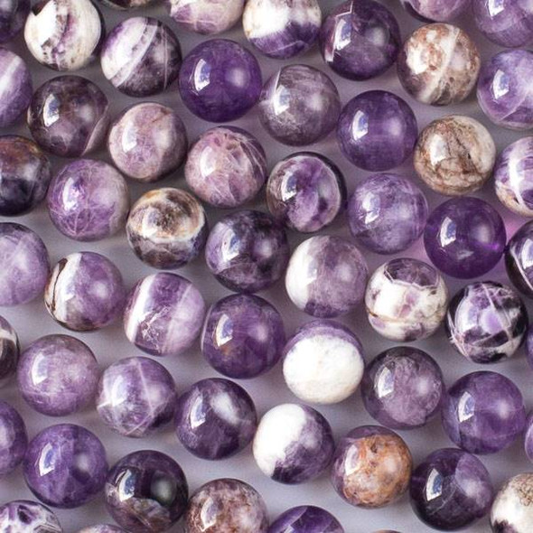Dog Tooth Amethyst 10mm Round Beads - 16 inch strand