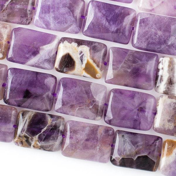 Dog Tooth Amethyst 12x16mm Rectangle Beads - 16 inch strand