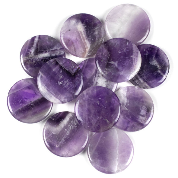 Dog Tooth Amethyst 35mm Top Drilled Coin Pendant - 1 per bag