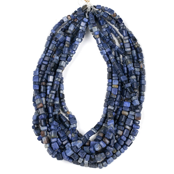 Dumortierite 4x6-8x12mm Graduated Trillion Beads - 15 inch strand