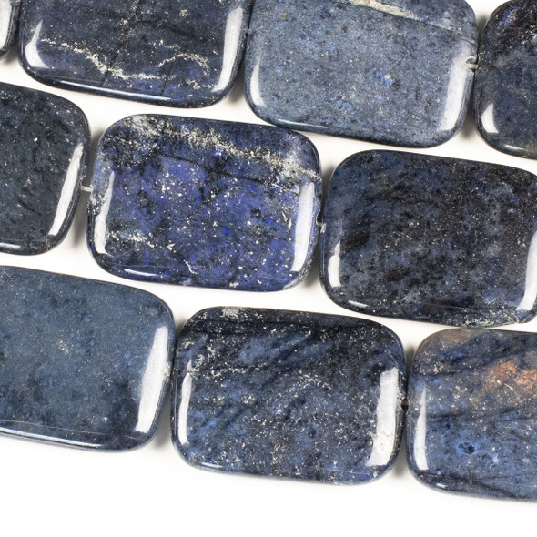 Dumortierite 30x40mm Rectangle Beads - 15 inch strand