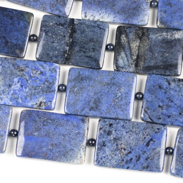 Dumortierite 25x35mm Rectangles alternating with 4mm Round Beads - 7 inch strand