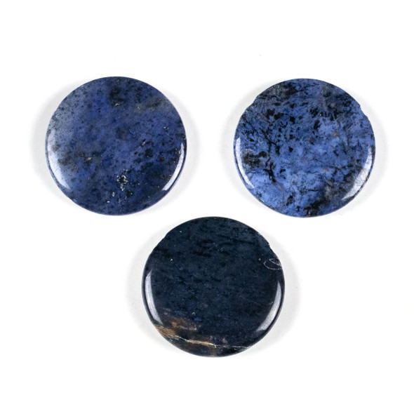 Dumortierite 35mm Top Drilled Coin Pendant - 1 per bag