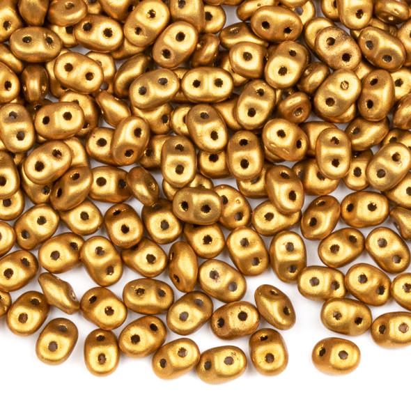 Matubo Czech Glass Superduo 2.5x5mm Seed Beads - Crystal Golden Rod, #0500030-01730-TB, approx. 22 gram tube