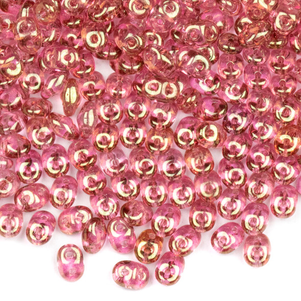 Matubo Czech Glass Superduo 2.5x5mm Seed Beads - Crystal Red Luster, #0500030-14495-TB, approx. 22 gram tube