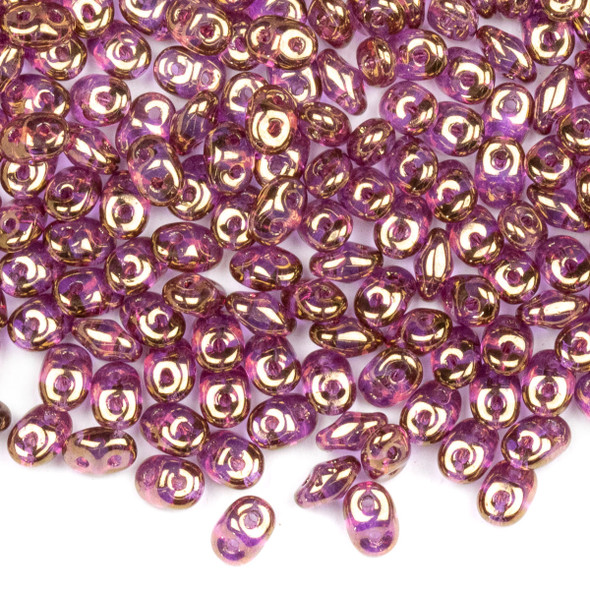 Matubo Czech Glass Superduo 2.5x5mm Seed Beads - Crystal Violet Luster, #0500030-14496-TB, approx. 22 gram tube