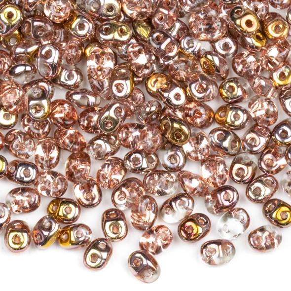 Matubo Czech Glass Superduo 2.5x5mm Seed Beads - Crystal Capri Gold, #0500030-27101-TB, approx. 22 gram tube