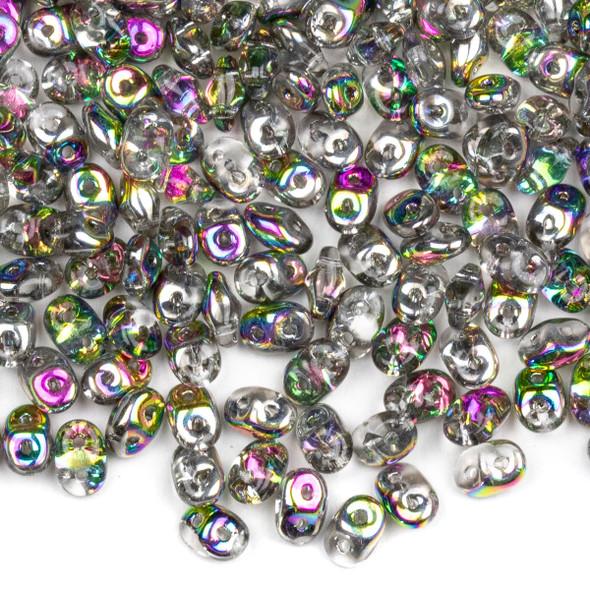 Matubo Czech Glass Superduo 2.5x5mm Seed Beads - Crystal Vitrail, #0500030-28101-TB, approx. 22 gram tube