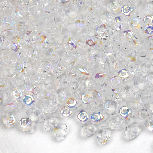 Matubo Czech Glass Superduo 2.5x5mm Seed Beads - Crystal AB, #0500030-28701-TB, approx. 22 gram tube
