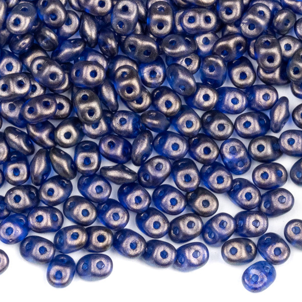 Matubo Czech Glass Superduo 2.5x5mm Seed Beads - Halo Cerulean Blue, #0500030-29264-TB, approx. 22 gram tube