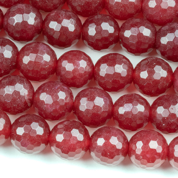 Dyed Jade 12mm Dark Raspberry Pink Faceted Round Beads - 15.5 inch strand