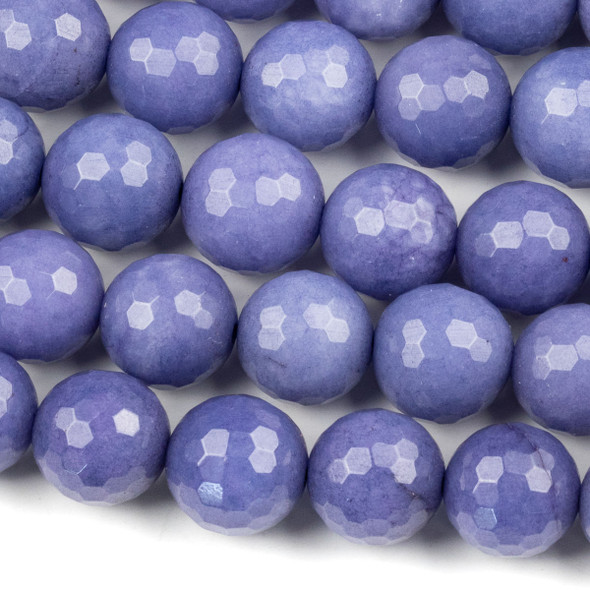 Dyed Jade 12mm Royal Blue Purple Faceted Round Beads - 15.5 inch strand