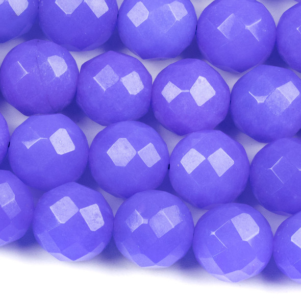 Dyed Jade 13mm Medium Sapphire Blue Faceted Round Beads - 15.5 inch strand