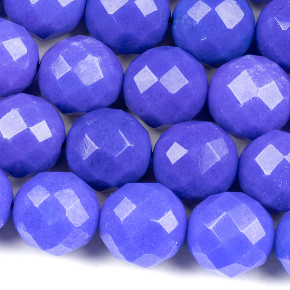 Dyed Jade 15mm Sapphire Blue Faceted Round Beads - 15.5 inch strand