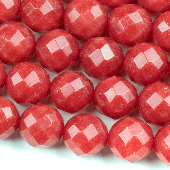 Dyed Jade 13mm Strawberry Red Faceted Round Beads - 15.5 inch strand