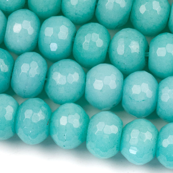 Dyed Jade 10x14mm Aqua Blue Faceted Rondelle Beads - 16 inch strand