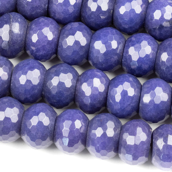 Dyed Jade 10x14mm Blueberry Blue Faceted Rondelle Beads - 16 inch strand