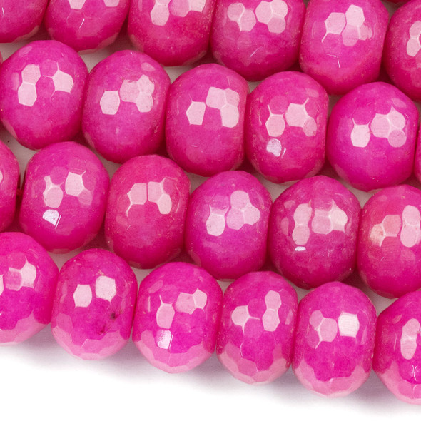Dyed Jade 10x14mm Bright Raspberry Pink Faceted Rondelle Beads - 16 inch strand