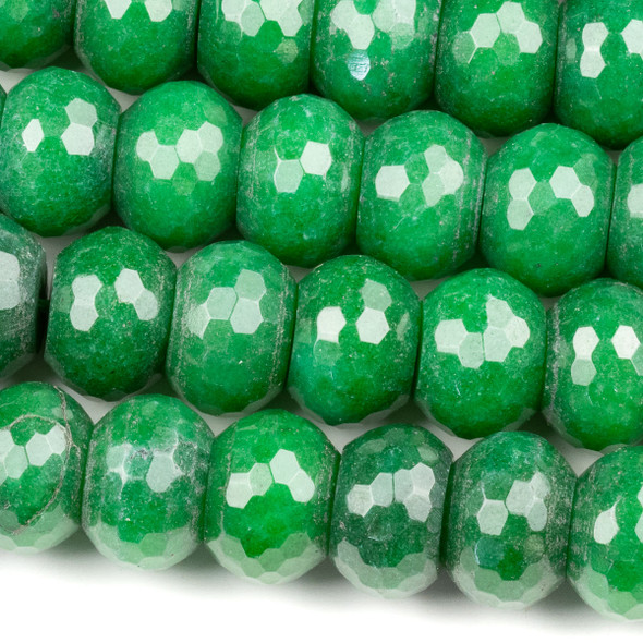 Dyed Jade 10x14mm Green Faceted Rondelle Beads - 16 inch strand