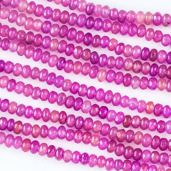 Dyed Jade 2x4mm Pink Faceted Rondelles - 16 inch strand