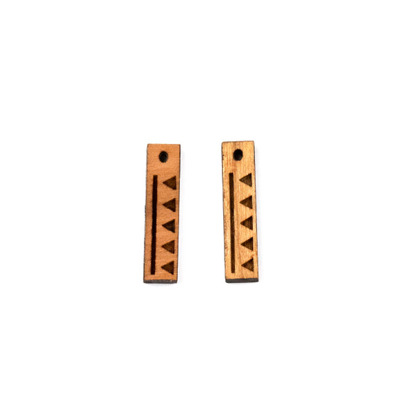 Handmade Wooden 5x22mm Short Sticks with Triangles Earring Set - 2 per bag