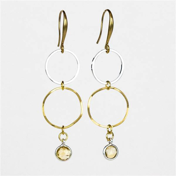 Citrine, Brass, and Silver Brass Hoop Earrings - #06