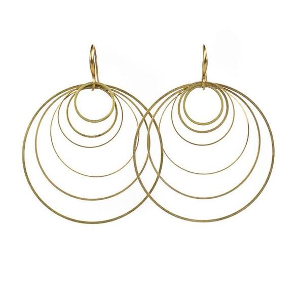 Layered Brass Hoop Earrings - #07