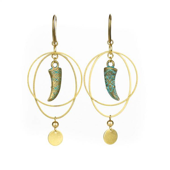 Green Bronze Horn and Brass Hoop Earrings - #11